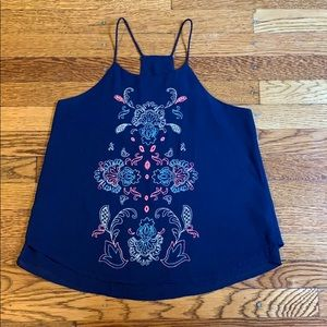 Navy embroidered tank top
